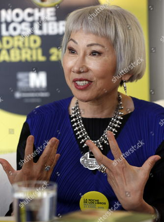 Us Writer Amy Tan Gestures During an Interview Held As Part of the Events Organized For the World Book Night in Madrid Spain 22 April 2015 on the Eve of the World Book Day Tan is a Well-known Author For Her Book 'The Joy Luck Club' Spain Madrid