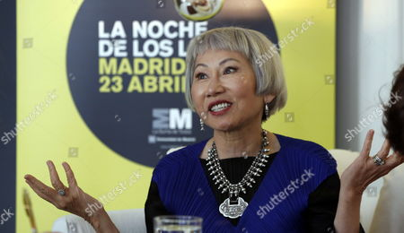 Stock Picture of Us Writer Amy Tan Gestures During an Interview Held As Part of the Events Organized For the World Book Night in Madrid Spain 22 April 2015 on the Eve of the World Book Day Tan is a Well-known Author For Her Book 'The Joy Luck Club' Spain Madrid