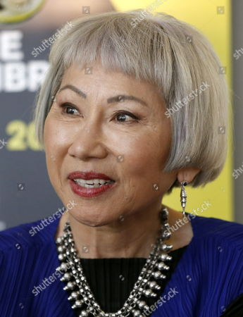 Stock Image of Us Writer Amy Tan Looks on During an Interview Held As Part of the Events Organized For the World Book Night in Madrid Spain 22 April 2015 on the Eve of the World Book Day Tan is a Well-known Author For Her Book 'The Joy Luck Club' Spain Madrid