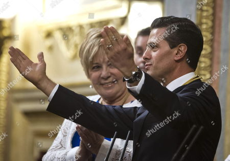 Stock Photo of Mexican President Enrique Pena Nieto (r) Delivers a Speech Next to Deputy Speaker of the Spanish Lower House Celia Villalobos (l) at the Lower House in Madrid Central Spain 10 June 2014 As Part of the Two-day State Visit of Mexican President in Spain Spain Madrid