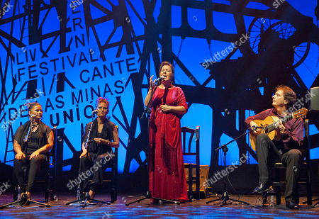 Spanish 'Cantaora' Or Flamenco Singer Carmen Linares (c) Performs During the 54th Edition of El Cante De Las Minas Festival in La Union Murcia Spain Late 10 August 2014 the Music Festival Runs From 06 to 16 August Spain La Union