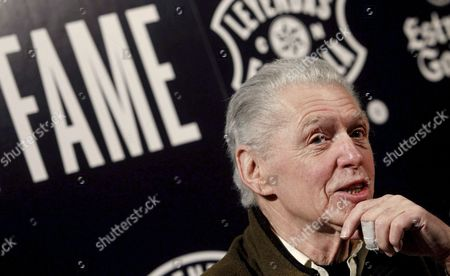 Stock Picture of British Jazz Musician Georgie Fame Talks at a Press Conference Held at Lara Theater in Madrid Spain 05 February 2014 to Present His Concert Scheduled For 06 February Together with Scottish Guitarist Jim Mullen and British Drummer Ralph Salmins Spain Madrid