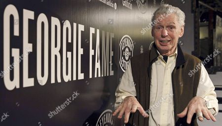 Stock Photo of British Jazz Musician Georgie Fame Talks at a Press Conference Held at Lara Theater in Madrid Spain 05 February 2014 to Present His Concert Scheduled For 06 February Together with Scottish Guitarist Jim Mullen and British Drummer Ralph Salmins Spain Madrid