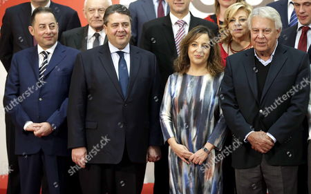 (l-r First Row) President of the Progressive Alliance of Socialists and Democrats (s&d) Italian Gianni Pitella German Vice-chancellor and Federal Minister of Economic Affairs Sigmar Gabriel President of the Spanish Socialist Delegation in the European Parliament Iratxe Garcia and Former Spanish Prime Minister Felipe Gonzalez Pose For the Family Picture at the Party of European Socialists (pes) Leaders' Meeting Held in Madrid Spain 21 February 2015 Spain Madrid