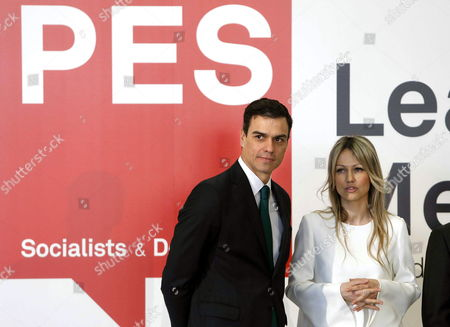 Polish Socialist Presidential Candidate Magdalena Ogorek (r) and Leader of the Spanish Socialist Party Pedro Sanchez (l) Are Seen at the Leaders' Meeting of the Party of European Socialists (pes) in Madrid Spain 21 February 2015 Spain Madrid