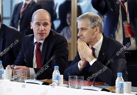 Dutch Socialist Diederik Samsom (l) Chats with the Leader of the Norwegian Labour Party Jonas Gahr Store (r) at the Start of the Party of European Socialists (pes) Leaders' Meeting in Madrid Spain 21 February 2015 Spain Madrid