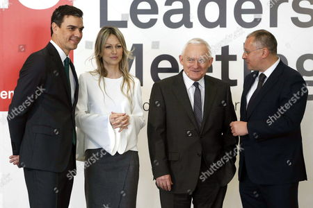 Polish Socialist Presidential Candidate Magdalena Ogorek (2-l) Leader of the Spanish Socialist Party Pedro Sanchez (l) Polish Former Prime Minister Leszek Miller (2-r) and President of the Party of European Socialists Sergei Stanishev (r) Are Seen at the Party of European Socialists (pes) Leaders' Meeting Held in Madrid Spain 21 February 2015 Spain Madrid