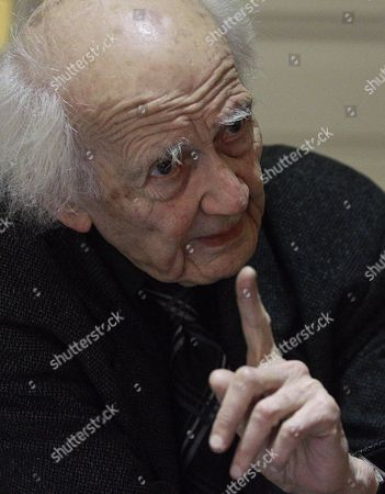 Stock Picture of Polish Philosopher and Sociologist Zygmunt Bauman Gestures During an Interview in Madrid Spain 04 February 2014 Bauman Has Been Awarded with the Prince of Asturias Award and is the Creator of the Concept 'Liquid Modernity' (nowadays Society) Zygmunt Presents in Spain His Book 'Does the Richness of the Few Benefit Us All?' Spain Madrid