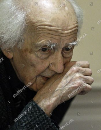 Stock Photo of Polish Philosopher and Sociologist Zygmunt Bauman Gestures During an Interview in Madrid Spain 04 February 2014 Bauman Has Been Awarded with the Prince of Asturias Award and is the Creator of the Concept 'Liquid Modernity' (nowadays Society) Zygmunt Presents in Spain His Book 'Does the Richness of the Few Benefit Us All?' Spain Madrid