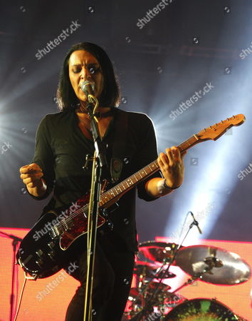 British Band 'Placebo' Singer and Guitarist Brian Molko Performs on Stage During the First of Their Four Concerts This Year in Spain at the Sports Palace in Madrid Central Spain on 30 July 2014 Spain Madrid