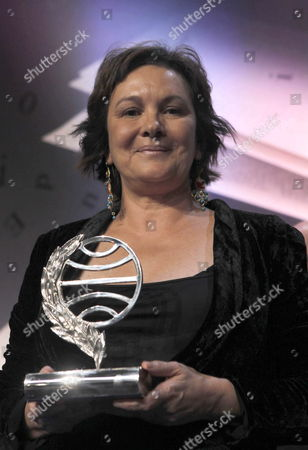 Spanish Writer Clara Sanchez Poses with the Trophy During the 66th Edition of Planeta Award Gala at the Congress Palace in Barcelona Northeasthern Spain on 15 October 2013 Spain Barcelona