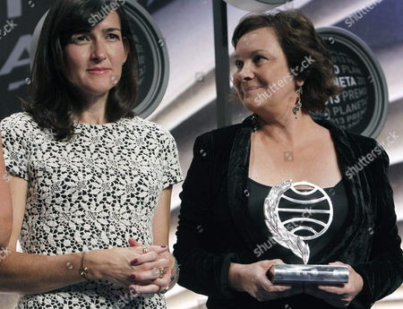 Spanish Writers Clara Sanchez (r) Winner of the Trophy and Angeles Gonzalez Sinde Second Place During the 66th Edition of Planeta Award Gala at the Congress Palace in Barcelona Northeastern Spain on 15 October 2013 Spain Barcelona