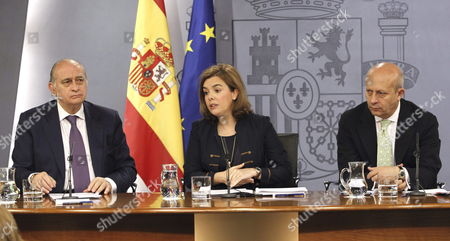 (l-r) Spanish Home Minister Jorge Fernandez Diaz Deputy Prime Minister Soraya Saenz De Santamaria and Education Minister Jose Ignacio Wert Address a Press Conference After a Spanish Cabinet Meeting at La Moncloa Palace in Madrid Spain 11 July 2014 on the Passing of the Citizen Security Bill Which Will Affect the Way Citizens Conduct Demonstrations Spain Madrid