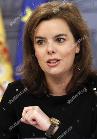 Spanish Deputy Prime Minister Soraya Saenz De Santa Maria Offers a Press Conference After the Cabinet Meeting at the Moncloa Palace in Madrid Spain 28 February 2014 Spanish Minister of Economy Luis De Guindos Announced Spain Had a Surplus in 2013 Spain Madrid