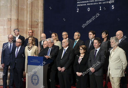 Jury President Pedro Echenique Landiribar (5-r Front) Announces That French Biochemist Emmanuelle Charpentier and Her Us Counterpart Jennifer Doudna Won the Princess of Asturias Award For Scientific and Technical Research 2015 in Oviedo Spain 28 May 2015 the Year 2015 is the First Year That the Princess of Asturias Awards Previously Known As Prince of Asturias Awards (1981-2014) Are Presented in Honor of Spain's Crown Princess Leonor of Asturias the Name Change Occurred After the Coronation of Her Father King Felipe Vi Spain Oviedo