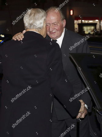 Carlos (l) Son of Cayetana Fitz-james Stuart Duchess of Alba Greets Former Spanish King Juan Carlos (r) at the Arrival For a Funeral Held at San Francisco El Grande Church in Madrid Spain on 15 December 2014 the Duchess of Alba Died Aged 88 at Home on 20 November After a Short Illness Spain Madrid