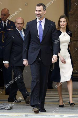 Spanish King Felipe Vi (c) Queen Letizia (r) and Spanish Culture Minister Jose Ignacio Wert (l) Arrive For the National Culture 2013 Awards Ceremony at El Pardo Palace in Madrid Spain 16 February 2015 Spain Madrid