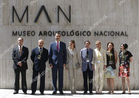 Spanish Crown Prince Felipe (3-l) and His Wife Princess Letizia (4-l) Pose For the Group Picture with (l to R) Director of the Archaelogic Museum Andres Carretero Spanish Minister of Culture and Education Jose Ignacio Wert Secretary of State For Culture Jose Maria Lasalle Government's Delegate in Madrid Cristina Cifuentes Secretary of State For Education Montserrat Gomendio and President of Spanish Cultural Action (ac/e) Maria Teresa Lizaranzu During the Opening of the Exhibition 'The Last Journey of the Frigate Our Lady of Mercedes' at the National Archaelogic Museum in Madrid Spain 12 June 2014 the Show Has Finally Opened to Public After the Dispute with the Treasure Hunter Company Odyssey Spain Madrid