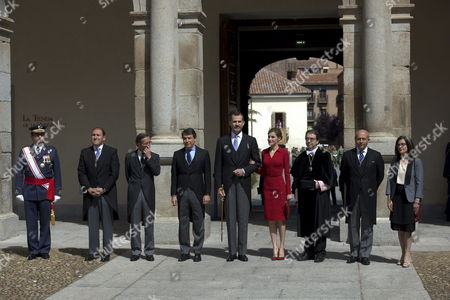 Spain's King Felipe Vi (c-l) and Queen Letizia (c-r) Next to Spanish Culture Minister Jose Ignacio Wert (2-r) State Secretary For Culture Jose Maria Lassalle (3-l) Madrid Regional Government President Ignacio Gonzalez (4-l) and Alcala De Henares University Rector Fernando Galvan (3-r) Among Others Pose For the Media As They Arrive at the Miguel De Cervantes 2014 Award Ceremony at Alcala De Henares University Outskirts of Madrid Spain 23 April 2015 Spanish Writer Juan Goytisolo Has Received This Year's Award Cervantes Prize is Awarded Annually to Honour the Lifetime Achievement of an Outstanding Writer in the Spanish Language Spain Madrid