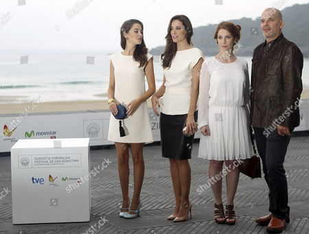 Austrian Baritone Florian Boesch (r) French Actress Lola Naymark (2-r) Portuguese Actresses Victoria Guerra (l) and Maria Joao Bastos (2-l) Pose at a Photocall For 'The Casanova Variations' During the 62nd San Sebastian International Film Festival in San Sebastian Spain 22 September 2014 the Movie is Presented in the Official Selection of the Festival Which Runs Until 27 September Spain San Sebastian