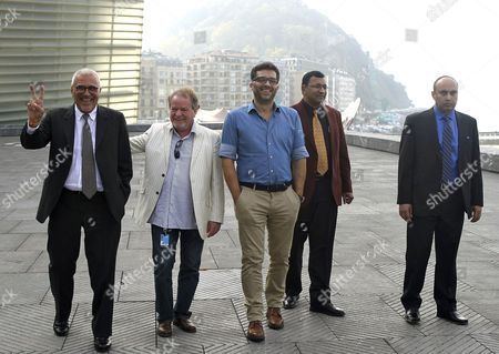Bosnian Filmmaker Danis Tanovic (c) Poses with Syed Aaamir Raza (r) and Emmanuel Diamond (2-r) on Whose Story the Movie is Based and French Producers Cedomir Kolar (l) and Marc Baschet (2-l) at the Photocall For 'Tigers' During the 62nd San Sebastian International Film Festival in San Sebastian Spain 25 September 2014 the Festival Runs Until 27 September Spain San Sebastian