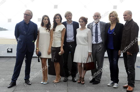 Austrian Musical Director Martin Haselb÷ck (l) Portuguese Actress Victoria Guerra (2-l) Portuguese Actress Maria Joao Bastos (3-l) Austrian Director Michael Sturminger (4-l) French Actress Lola Naymark (4-r) Us Actor John Malkovich (3-l) German Actress Veronica Ferres (2-l) and Austrian Baritone Florian Boesch (r) Pose at a Photocall For 'The Casanova Variations' During the 62nd San Sebastian International Film Festival in San Sebastian Spain 22 September 2014 the Movie is Presented in the Official Selection of the Festival Which Runs Until 27 September Spain San Sebastian
