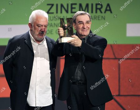 Spanish Filmmaker Pedro Olea (r) Receives 'Zinemira' Award From Spanish Director Imanol Uribe (l) During the Basque Cinema Gala Held As Part of the 62nd San Sebastian International Film Festival in San Sebastian Spain 22 September 2014 the Festival Will Run Until 27 September Spain San Sebastian