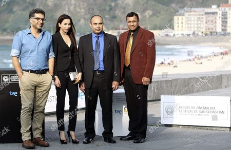 Bosnian Filmmaker Danis Tanovic (l) Poses with Syed Aaamir Raza (2-r) and Emmanuel Diamond (r) on Whose Story the Movie is Based and Indian Producer Prashita Chaundhary (2-l) at the Photocall For 'Tigers' During the 62nd San Sebastian International Film Festival in San Sebastian Spain 25 September 2014 the Festival Runs Until 27 September Spain San Sebastian