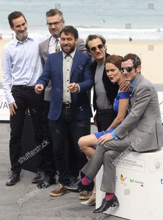 Canadian Filmmaker Maxime Giroux (3-l) Poses with Actors Martin Dubreuil (3-r) Hadas Yaron (2-r) and Luzer Twersky (r) Producer Sylvain Corbeil (2-l) and Writer Alexandre Laferriere (l) at the Photocall For 'Felix Et Meira' During the 62nd San Sebastian International Film Festival in San Sebastian Spain 24 September 2014 the Festival Will Run Until 27 September Spain San Sebastian