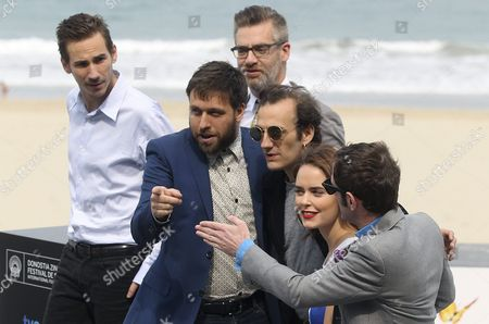 Canadian Filmmaker Maxime Giroux (2-l) Poses with Actors Martin Dubreuil (3-r) Hadas Yaron (2-r) and Luzer Twersky (r) Producer Sylvain Corbeil (back) and Writer Alexandre Laferriere (l) at the Photocall For 'Felix Et Meira' During the 62nd San Sebastian International Film Festival in San Sebastian Spain 24 September 2014 the Festival Will Run Until 27 September Spain San Sebastian