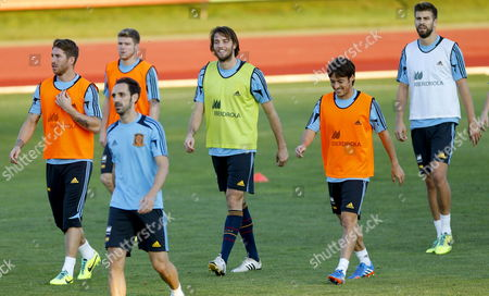 Spanish National Soccer Striker Miguel Perez Cuesta 'Michu' (c) with His Team Mates During the Training of the Team Held in at Las Rozas Sports Complex in Madrid Spain on 09 October 2013 to Prepare For Their Next Fifa World Cup Qualifyings Soccer Match Against Georgia on 11 October Spain Madrid