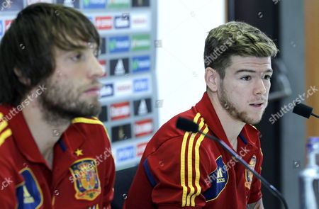 Spanish National Soccer Players Miguel Perez Cuesta Aka Michu (l) and Alberto Moreno Attend a Press Conference at Las Rozas Sports City on the Outskirts of Madrid Spain 09 October 2013 the Spanish Team Prepare For Their Upcoming Fifa World Cup 2014 Qualifying Matches Against Belarus and Georgia Spain Las Rozas (madrid)