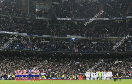 Real Madrid and Atletico Madrid Players Observe a Minute of Silence in Honour of Late Spanish Former Coach Luis Aragones Before Their King's Cup Semi-final First Leg Soccer Match Played at Santiago Bernabeu Stadium in Madrid Spain 05 February 2014 Luis Aragones Coach of Spain's Uefa Euro 2008 Winning Team Died on 01 February 2014 in the Clinica Cemtro Hospital in Madrid at the Age of 75 After a Long Illness Spain Madrid
