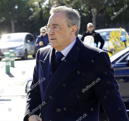 Real Madrid's President Florentino Perez Arrives to the Funeral Chapel to Pay His Respect For Former Spanish National Coach Luis Aragones in Madrid Spain 02 February 2014 Luis Aragones Coach of Spain's Uefa Euro 2008 Winning Team Died on 01 February 2014 in the Clinica Cemtro Hospital in Madrid at the Age of 75 After a Long Illness Spain Madrid