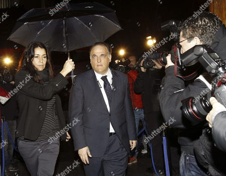 Spanish Liga's Chairman Javier Tebas (c) Upon His Arrival to the Funeral of Former Soccer Player and Head Coach Luis Aragones Held at the Spanish-latin Church of Nuestra Senora De La Merced in Madrid Spain 06 February 2014 Luis Aragones was One of the Most Important Atletico De Madrid's Player and the Coach who Lead the National Team to Win the Eurocup of 2008 Spain Madrid