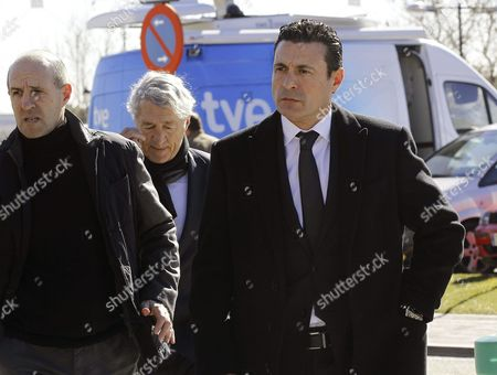 Former Spanish Soccer Players Jose Manuel Ochotorena (l) and Goalkeeper Andres Palop (r) Arrive to the Funeral Chapel to Pay Their Respect For Former Spanish National Coach Luis Aragones in Madrid Spain 02 February 2014 Luis Aragones Coach of Spain's Uefa Euro 2008 Winning Team Died on 01 February 2014 in the Clinica Cemtro Hospital in Madrid at the Age of 75 After a Long Illness Spain Madrid