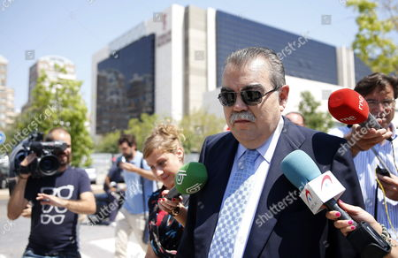 Former Valencia Cf's President Juan Soler (front) Leaves a Court at Valencia's City of Justice in Valencia City Eastern Spain 16 July 2014 Soler Testified on the Accusation of the Attempted Kidnapping of Vicente Soriano Former President of Spanish Liga's Primera Division Team Valencia Spain Valencia