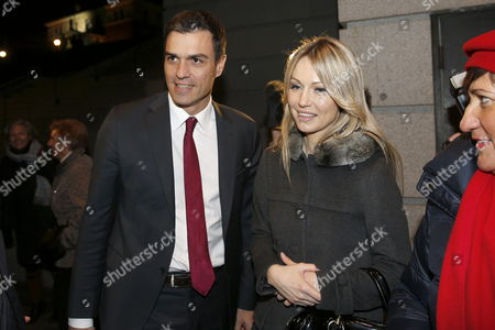 General Secretary of Psoe (spanish Socialist Party) Pedro Sanchez (l) and Polish Presidential Candidate For the Democratic Left Aliance Magdalena Ogorek (r) Arrive at a Reception Prior to the Socialist Democratic Summit in Madrid Spain 20 February 2015 Spain Madrid