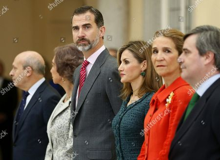 Spain's King Felipe Vi (c) Queen Letizia (3-r) Princess Elena (2-r) Queen Sofia (2-l) Spanish Culture and Sports Minister Jose Ignacio Wert (l) and Chairman of Spanish Sports Council Miguel Cardenal (r) Attend the 2014 National Sports Awards Ceremony at El Pardo Palace in Madrid Spain 04 December 2014 Spain Madrid