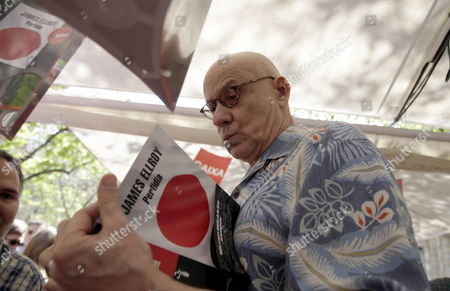 Us Writer James Ellroy Signs Some Books During the Celebration of Saint George Festivity in Barcelona Northeastern Spain 23 April 2015 Catalonia Celebrates Saint George's Day Exchanging Books and Red Roses As Presents Spain Barcelona