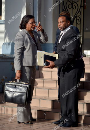 Senior Consultant Pamela Elder (l) Talks to Keith Scotland Defense Lawyer of Former Fifa Vicepresident Austin Jack Warner Outside the Court After a Hearing in the Corruption Case of Fifa in Port of Spain Trinidad and Tobago 27 May 2015 Warner who was Also the Former President of Concacaf was Named Among Current and Former Fifa Officials Indicted by the United States Justice Department Following a Three-year Investigation Into in a Corruption and Bribery Scandal the Fifa Officials Seven of Whom Were Arrested in Zurich Switzerland Are Being Charged with Racketeering Wire Fraud Conspiracy and Corruption Which They Allegedly Engaged in to Enrich Themselves While Working For the the International Soccer Body Fifa Trinidad and Tobago Port of Spain