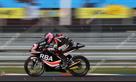 Spanish Moto3 Rider Ana Carrasco Steers Her Bike During a Training Session at Termas De Rio Hondo Circuit Near Termas De Rio Hondo Argentina 18 April 2015 the Motorcycling Grand Prix of Argentina Takes Place on 19 April 2015 Argentina Termas De Rio Hondo