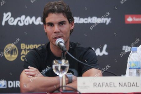 Spanish Tennis Player Rafael Nadal Speaks at a Press Conference in Buenos Aires Argentina 18 November 2013 Nadal Will Appear at Exhibition Matches with Argentinian David Nalbandian and Serbian Novak Djokovic Argentina Buenos Aires