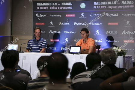Spanish Tennis Player Number One in the Ranking Rafael Nadal (r) and Argentinean Colleague David Nalbandian (l) Talk During a Press Conference in Cordoba City Argentina on 21 November 2013 Both Players Will Participate in This City in a Exhibition Match As a Farewell to Nalbandian Argentina C?rdoba