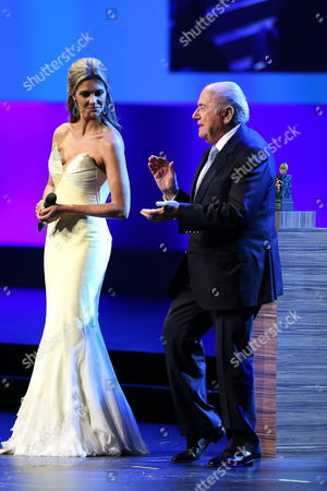 Stock Image of President of Fifa Joseph Blatter (r) Applauds Next to Brazilian Hostess and Model Fernanda Lima (l) During the Inaugural Ceremony of the 64th Congress of the Fifa in Sao Paulo Brazil 10 June 2014 Brazil Sao Paulo