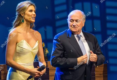 President of Fifa Joseph Blatter (r) Next to Brazilian Hostess and Model Fernanda Lima (l) During the Inaugural Ceremony of the 64th Congress of the Fifa in Sao Paulo Brazil 10 June 2014 Brazil Sao Paulo
