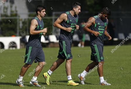 Isaac Brizuela (l) Hector Herrera (c) and Miguel Ponce (r) of Mexico During a Training Session of the Mexican Team at the Training Center 'O Rei Pele' of Santos Soccer Club in Santos Brazil 26 June 2014 Mexico Will Face the Netherlands in the Round of 16 of the Fifa World Cup on 29 June Brazil Santos