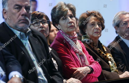 Stock Picture of Senator Isabel Allende (3-r); Angela Jeria (2-r) Mother of Presidential Presidential Candidate Michelle Bachelet; President of the Socialist Party From Chile Osvaldo Andrade (l) Attend the Seminar 'Salvador Allende: Republic Democracy and Socialism' Held in Santiago De Chile Chile 06 September 2013 Which is a Tribute to Deceased Salvador Allende Chile Santiago De Chile