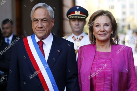 Outgoing Chilean President Sebastian Pinera Poses with His Wife Cecilia Morel (r) at La Moneda Presidential Palace in Santiago Chile 11 March 2014 Prior to Attending the Investiture Ceremony of Chilean President-elect Michelle Bachelet Chile Santiago De Chile