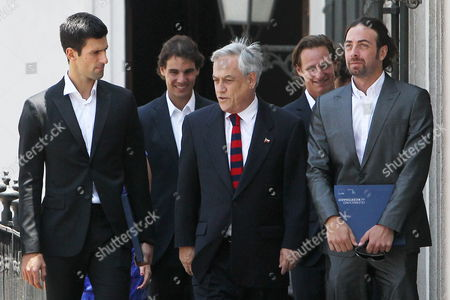 President of Chile Sebastian Pi±era Talks to International Tennis Players Serbian Novak Djokovic (l); Spanish Rafael Nadal (2l); Chilean Nicolas Massu (r) and Argentinean David Nalbandian (2l); During an Encounter at La Moneda Palace in Santiago Chile on 20 November 2013 the Tennis Players Arrived to the Country to Participate in the Farawell Match of Chilean Nicolas Massu Current Captain of Davis Cup Chilean Team Chile Santiago